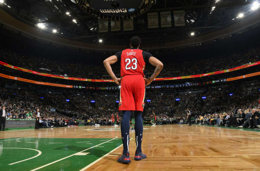 BOSTON, MA - DECEMBER 10: Anthony Davis #23 of the New Orleans Pelicans looks on during a game against the Boston Celtics on December 10, 2018 at the TD Garden in Boston, Massachusetts. NOTE TO USER: User expressly acknowledges and agrees that, by downloading and or using this photograph, User is consenting to the terms and conditions of the Getty Images License Agreement. Mandatory Copyright Notice: Copyright 2018 NBAE (Photo by Brian Babineau/NBAE via Getty Images)