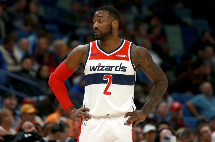 NEW ORLEANS, LOUISIANA - NOVEMBER 28: John Wall #2 of the Washington Wizards stands on the court during a game against the New Orleans Pelicans at the Smoothie King Center on November 28, 2018 in New Orleans, Louisiana. NOTE TO USER: User expressly acknowledges and agrees that, by downloading and or using this photograph, User is consenting to the terms and conditions of the Getty Images License Agreement. (Photo by Sean Gardner/Getty Images)