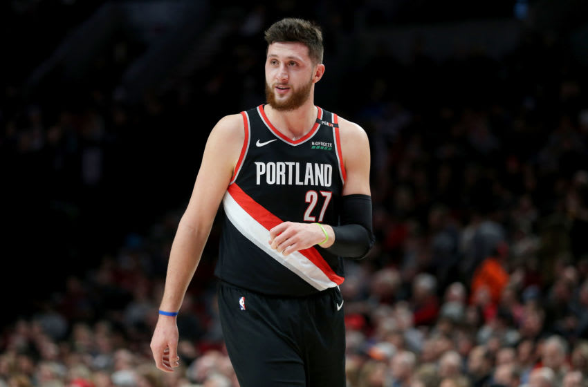 PORTLAND, OR - FEBRUARY 07: Jusuf Nurkic #27 of the Portland Trail Blazers reacts against the San Antonio Spurs in the first quarter during their game at Moda Center on February 7, 2019 in Portland, Oregon. NOTE TO USER: User expressly acknowledges and agrees that, by downloading and or using this photograph, User is consenting to the terms and conditions of the Getty Images License Agreement. (Photo by Abbie Parr/Getty Images)