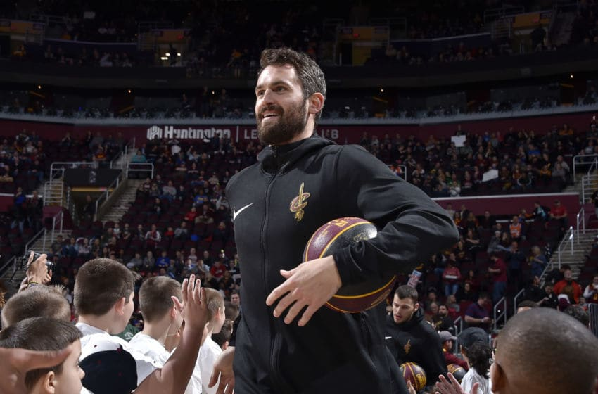 CLEVELAND, OH - MARCH 22: Kevin Love #0 of the Cleveland Cavaliers smiles before the game against the LA Clippers on March 22, 2019 at Quicken Loans Arena in Cleveland, Ohio. NOTE TO USER: User expressly acknowledges and agrees that, by downloading and/or using this Photograph, user is consenting to the terms and conditions of the Getty Images License Agreement. Mandatory Copyright Notice: Copyright 2019 NBAE (Photo by David Liam Kyle/NBAE via Getty Images)