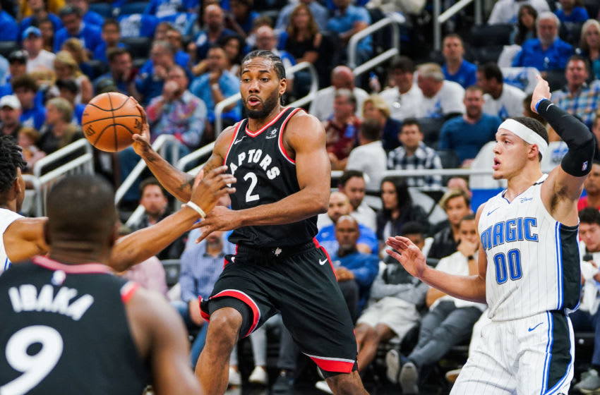 ORLANDO, FLORIDA - APRIL 21: Kawhi Leonard #2 of the Toronto Raptors passes the ball in a game against the Orlando Magic at Amway Center on April 21, 2019 in Orlando, Florida. (Photo by Cassy Athena/Getty Images)