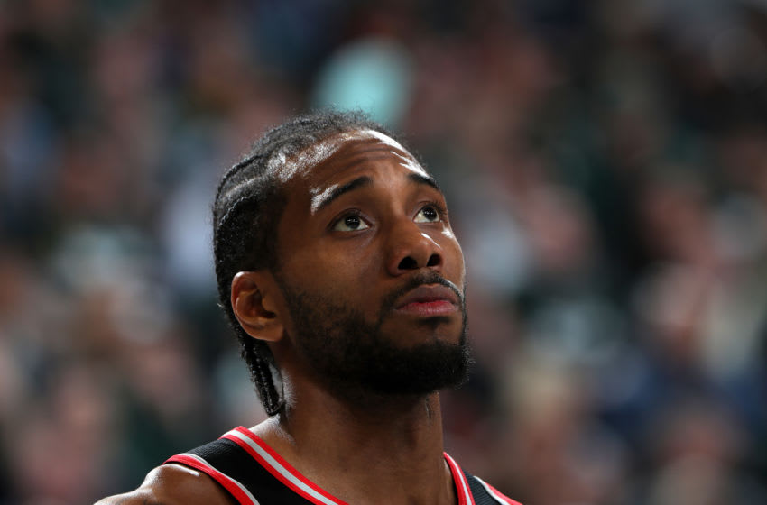 MILWAUKEE, WI - MAY 17: Kawhi Leonard #2 of the Toronto Raptors looks on against the Milwaukee Bucks during Game Two of the Eastern Conference Finals on May 17, 2019 at the Fiserv Forum in Milwaukee, Wisconsin. NOTE TO USER: User expressly acknowledges and agrees that, by downloading and/or using this photograph, user is consenting to the terms and conditions of the Getty Images License Agreement. Mandatory Copyright Notice: Copyright 2019 NBAE (Photo by Nathaniel S. Butler/NBAE via Getty Images)