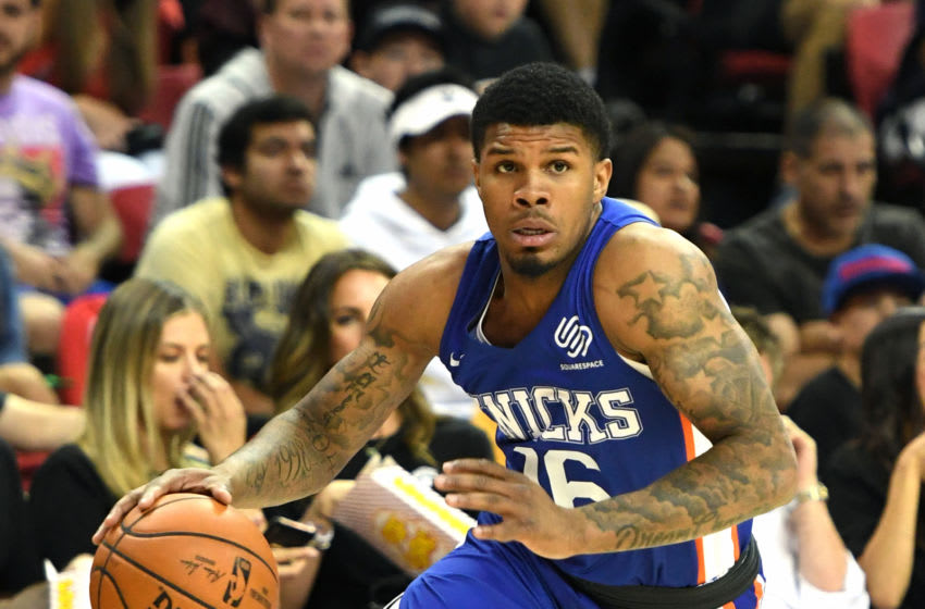 LAS VEGAS, NEVADA - JULY 07: Lamar Peters #16 of the New York Knicks brings the ball up the court against the Phoenix Suns during the 2019 NBA Summer League at the Thomas & Mack Center on July 7, 2019 in Las Vegas, Nevada. NOTE TO USER: User expressly acknowledges and agrees that, by downloading and or using this photograph, User is consenting to the terms and conditions of the Getty Images License Agreement. (Photo by Ethan Miller/Getty Images)