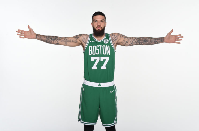 CANTON, MA - SEPTEMBER 30: Vincent Poirier #77 of the Boston Celtics poses for a portrait on September 30, 2019 at High Output Studios in Canton, Massachusetts. NOTE TO USER: User expressly acknowledges and agrees that, by downloading and or using this photograph, User is consenting to the terms and conditions of the Getty Images License Agreement. Mandatory Copyright Notice: Copyright 2019 NBAE (Photo by Brian Babineau/NBAE via Getty Images)