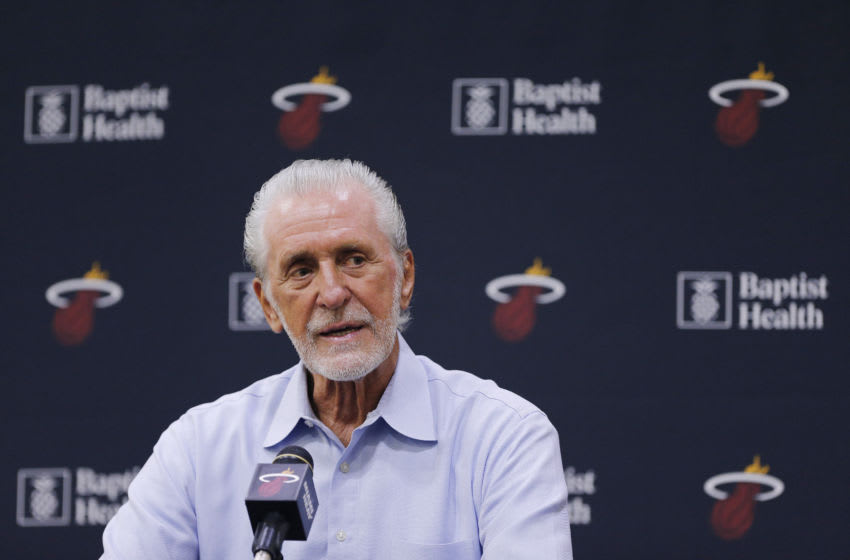 MIAMI, FLORIDA - SEPTEMBER 27: President Pat Riley of the Miami Heat addresses the media during the introductory press conference for Jimmy Butler at American Airlines Arena on September 27, 2019 in Miami, Florida. NOTE TO USER: User expressly acknowledges and agrees that, by downloading and or using this photograph, User is consenting to the terms and conditions of the Getty Images License Agreement. (Photo by Michael Reaves/Getty Images)