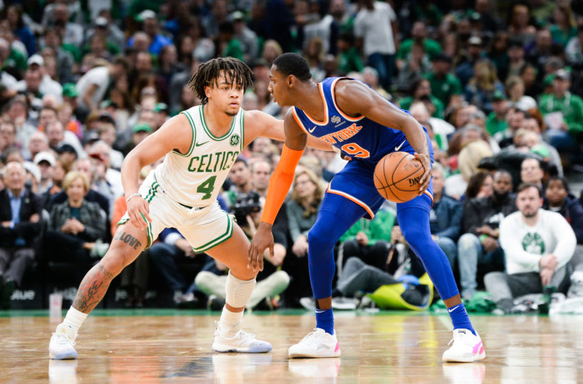BOSTON, MA - NOVEMBER 1: Carsen Edwards #4 of the Boston Celtics defends R.J. Barrett #9 of the New York Knicks in the second half at TD Garden on November 1, 2019 in Boston, Massachusetts. NOTE TO USER: User expressly acknowledges and agrees that, by downloading and or using this photograph, User is consenting to the terms and conditions of the Getty Images License Agreement. (Photo by Kathryn Riley/Getty Images)