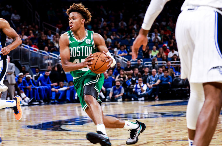 ORLANDO, FLORIDA - OCTOBER 11: Romeo Langford #45 of the Boston Celtics charges into the key against the Orlando Magic in the 4th quarter at Amway Center on October 11, 2019 in Orlando, Florida. NOTE TO USER: User expressly acknowledges and agrees that, by downloading and or using this photograph, User is consenting to the terms and conditions of the Getty Images License Agreement. (Photo by Harry Aaron/Getty Images)