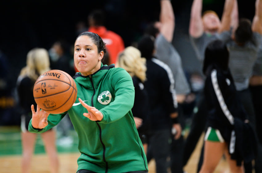BOSTON, MA - NOVEMBER 13: Assistant coach Kara Lawson of the Boston Celtics during warm-ups prior to the start of the game against the Washington Wizards at TD Garden on November 13, 2019 in Boston, Massachusetts. NOTE TO USER: User expressly acknowledges and agrees that, by downloading and or using this photograph, User is consenting to the terms and conditions of the Getty Images License Agreement. (Photo by Kathryn Riley/Getty Images)