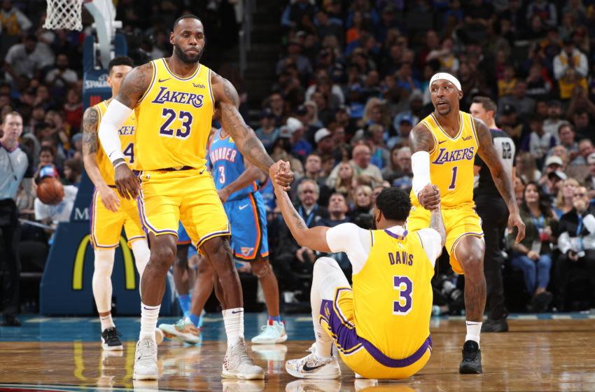 Los Angeles Lakers LeBron James Anthony Davis, Kentavious Caldwell-Pope (Photo by Joe Murphy/NBAE via Getty Images)