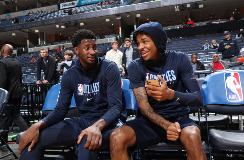 MEMPHIS, TN - JANUARY 20: Jaren Jackson Jr. #13 of the Memphis Grizzlies and Ja Morant #12 of the Memphis Grizzlies look on prior to a game against the New Orleans Pelicans on January 20, 2020 at FedExForum in Memphis, Tennessee. NOTE TO USER: User expressly acknowledges and agrees that, by downloading and or using this photograph, User is consenting to the terms and conditions of the Getty Photo by Joe Murphy/NBAE via Getty Images