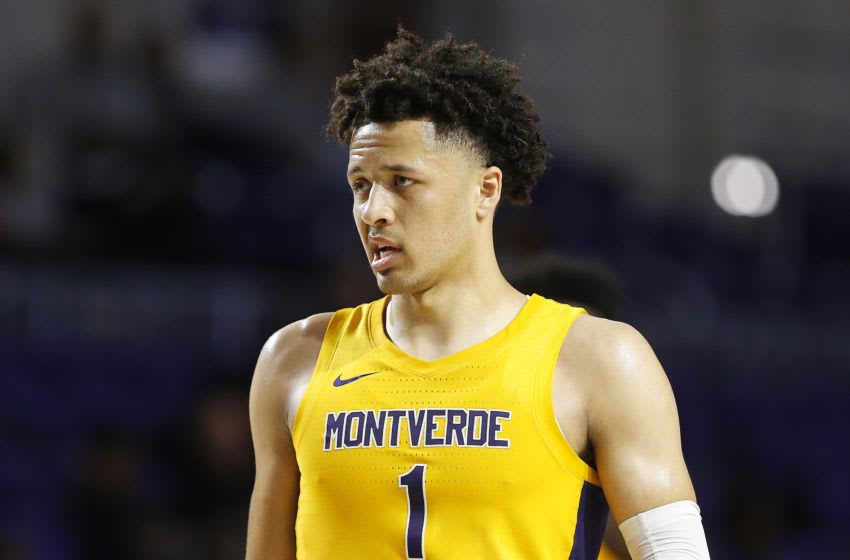 FORT MYERS, FLORIDA - DECEMBER 19: Cade Cunningham #1 of Montverde Academy looks on against Sanford School during the City of Palms Classic Day 2 at Suncoast Credit Union Arena on December 19, 2019 in Fort Myers, Florida. (Photo by Michael Reaves/Getty Images)