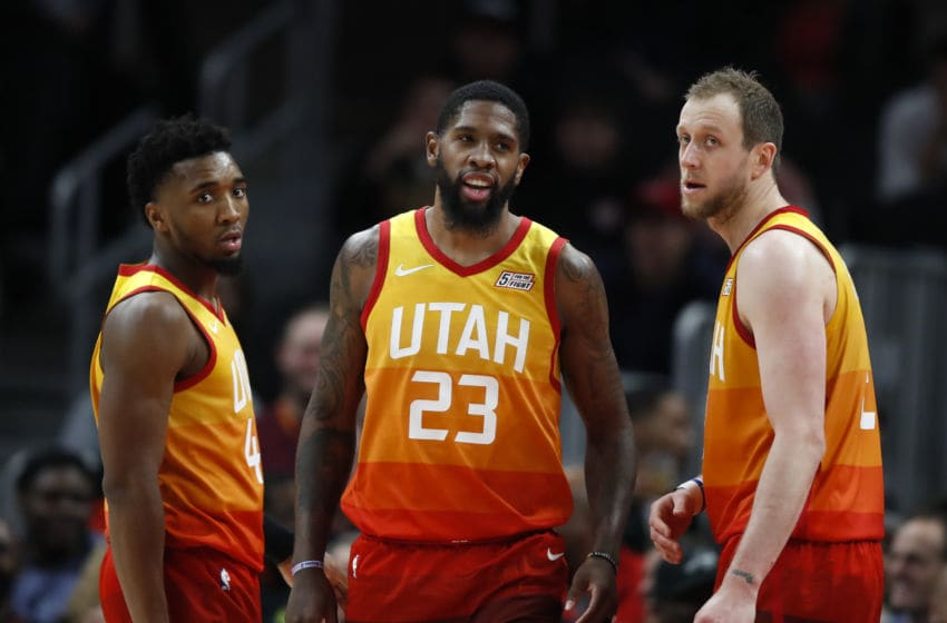 ATLANTA, GA - DECEMBER 19: Donovan Mitchell #45, Royce O'Neale #23 and Joe Ingles #2 of the Utah Jazz react during the second half of an NBA game against the Atlanta Hawks at State Farm Arena on December 19, 2019 in Atlanta, Georgia. NOTE TO USER: User expressly acknowledges and agrees that, by downloading and/or using this photograph, user is consenting to the terms and conditions of the Getty Images License Agreement. (Photo by Todd Kirkland/Getty Images)