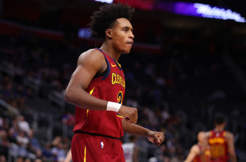 DETROIT, MICHIGAN - JANUARY 27: Collin Sexton #2 of the Cleveland Cavaliers reacts after a second half basket against the Detroit Pistons at Little Caesars Arena on January 27, 2020 in Detroit, Michigan. Cleveland won the game 115-100. NOTE TO USER: User expressly acknowledges and agrees that, by downloading and or using this photograph, User is consenting to the terms and conditions of the Getty Images License Agreement. (Photo by Gregory Shamus/Getty Images)