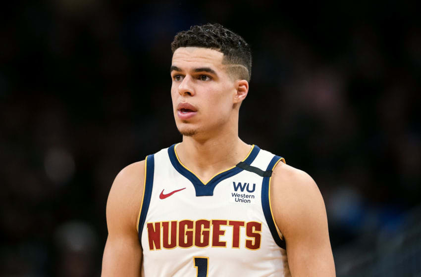 MILWAUKEE, WISCONSIN - JANUARY 31: Michael Porter Jr. #1 of the Denver Nuggets walks across the court in the third quarter against the Milwaukee Bucks at the Fiserv Forum on January 31, 2020 in Milwaukee, Wisconsin. NOTE TO USER: User expressly acknowledges and agrees that, by downloading and or using this photograph, User is consenting to the terms and conditions of the Getty Images License Agreement. (Photo by Dylan Buell/Getty Images)