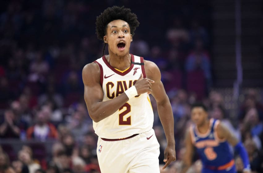 CLEVELAND, OHIO - FEBRUARY 03: Collin Sexton #2 of the Cleveland Cavaliers taunts the New York Knicks bench after scoring during the first half at Rocket Mortgage Fieldhouse on February 03, 2020 in Cleveland, Ohio. NOTE TO USER: User expressly acknowledges and agrees that, by downloading and/or using this photograph, user is consenting to the terms and conditions of the Getty Images License Agreement. (Photo by Jason Miller/Getty Images)