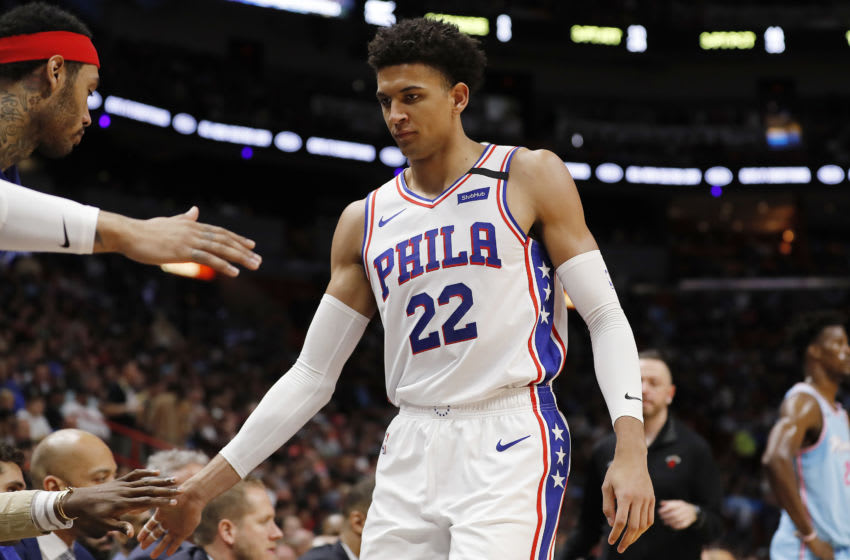 MIAMI, FLORIDA - FEBRUARY 03: Matisse Thybulle #22 of the Philadelphia 76ers looks on against the Miami Heat during the second half at American Airlines Arena on February 03, 2020 in Miami, Florida. NOTE TO USER: User expressly acknowledges and agrees that, by downloading and/or using this photograph, user is consenting to the terms and conditions of the Getty Images License Agreement. (Photo by Michael Reaves/Getty Images)