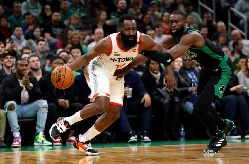 BOSTON, MASSACHUSETTS - FEBRUARY 29: Jaylen Brown #7 of the Boston Celtics defends James Harden #13 of the Houston Rockets during the first half of the game at TD Garden on February 29, 2020 in Boston, Massachusetts. (Photo by Maddie Meyer/Getty Images)