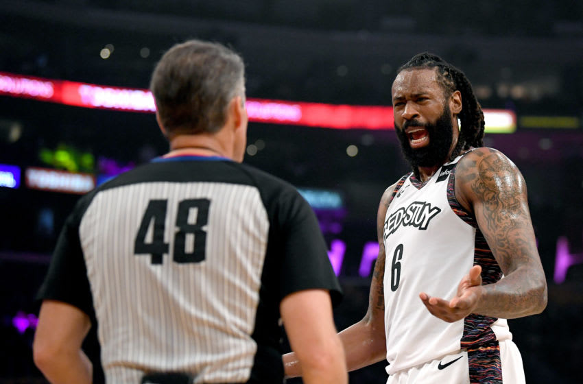 LOS ANGELES, CALIFORNIA - MARCH 10: DeAndre Jordan #6 of the Brooklyn Nets argues a call with referee Scott Foster #48 during the first half against the Los Angeles Lakers at Staples Center on March 10, 2020 in Los Angeles, California. (Photo by Harry How/Getty Images) NOTE TO USER: User expressly acknowledges and agrees that, by downloading and or using this photograph, User is consenting to the terms and conditions of the Getty Images License Agreement.