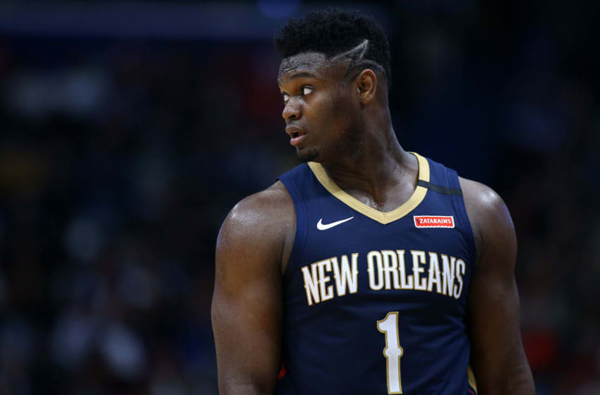 NEW ORLEANS, LOUISIANA - MARCH 06: Zion Williamson #1 of the New Orleans Pelicans reacts against the Miami Heat during a game at the Smoothie King Center on March 06, 2020 in New Orleans, Louisiana. NOTE TO USER: User expressly acknowledges and agrees that, by downloading and or using this Photograph, user is consenting to the terms and conditions of the Getty Images License Agreement. (Photo by Jonathan Bachman/Getty Images)