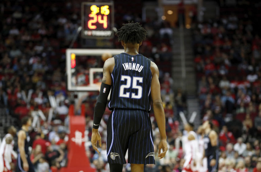 HOUSTON, TEXAS - MARCH 08: Wes Iwundu #25 of the Orlando Magic stands on the court in the second half against the Houston Rockets at Toyota Center on March 08, 2020 in Houston, Texas. NOTE TO USER: User expressly acknowledges and agrees that, by downloading and or using this photograph, User is consenting to the terms and conditions of the Getty Images License Agreement. (Photo by Tim Warner/Getty Images)