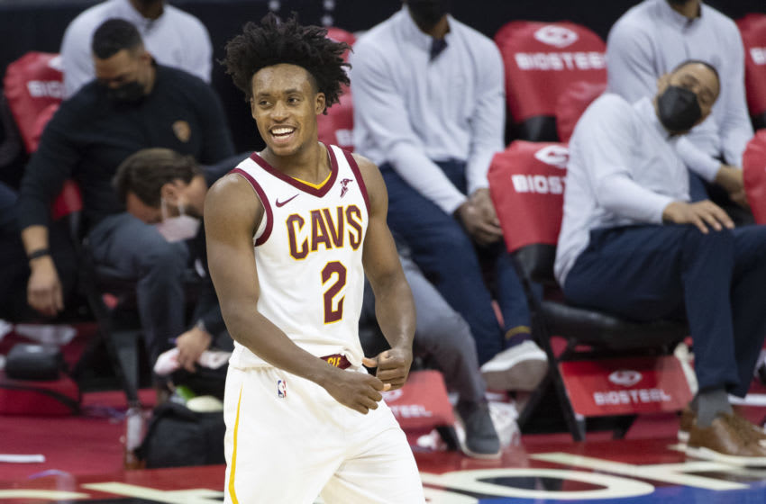 PHILADELPHIA, PA - FEBRUARY 27: Collin Sexton #2 of the Cleveland Cavaliers reacts against the Philadelphia 76ers in overtime at Wells Fargo Center on February 27, 2021 in Philadelphia, Pennsylvania. The Cleveland Cavaliers defeated the Philadelphia 76ers 112-109. NOTE TO USER: User expressly acknowledges and agrees that, by downloading and or using this photograph, User is consenting to the terms and conditions of the Getty Images License Agreement. (Photo by Mitchell Leff/Getty Images)