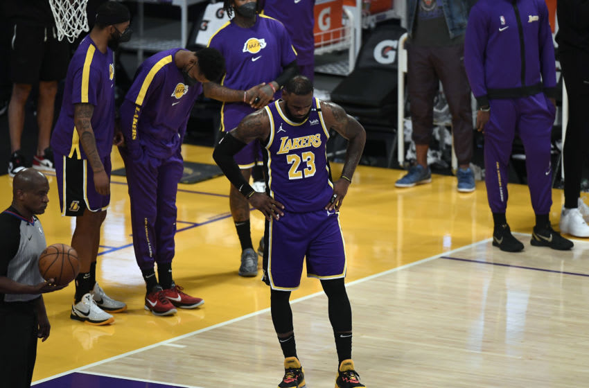 LOS ANGELES, CA - APRIL 30: LeBron James #23 of the Los Angeles Lakers reacts end of the game after losing to the Sacramento Kings at Staples Center on April 30, 2021 in Los Angeles, California. NOTE TO USER: User expressly acknowledges and agrees that, by downloading and or using this photograph, User is consenting to the terms and conditions of the Getty Images License Agreement. (Photo by Kevork Djansezian/Getty Images)