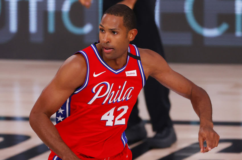 LAKE BUENA VISTA, FLORIDA - AUGUST 09: Al Horford #42 of the Philadelphia 76ers looks on against the Portland Trail Blazers during the fourth quarter at Visa Athletic Center at ESPN Wide World Of Sports Complex on August 09, 2020 in Lake Buena Vista, Florida. NOTE TO USER: User expressly acknowledges and agrees that, by downloading and or using this photograph, User is consenting to the terms and conditions of the Getty Images License Agreement. (Photo by Kevin C. Cox/Getty Images)