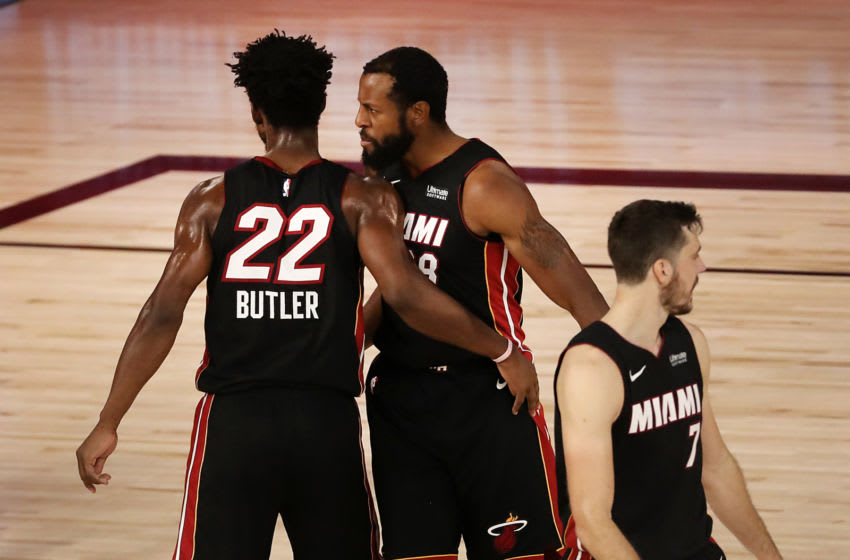 LAKE BUENA VISTA, FLORIDA - SEPTEMBER 04: Jimmy Butler #22 of the Miami Heat reacts with teammates during the fourth quarter after their win against the Milwaukee Bucks in Game Three of the Eastern Conference Second Round during the 2020 NBA Playoffs at the Field House at the ESPN Wide World Of Sports Complex on September 04, 2020 in Lake Buena Vista, Florida. NOTE TO USER: User expressly acknowledges and agrees that, by downloading and or using this photograph, User is consenting to the terms and conditions of the Getty Images License Agreement. (Photo by Mike Ehrmann/Getty Images)