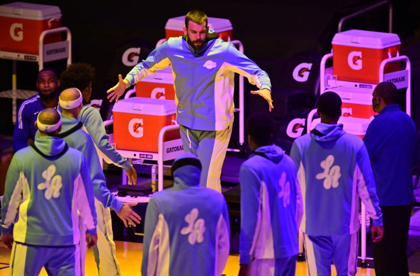 LOS ANGELES, CA - DECEMBER 27: Marc Gasol #14 of the Los Angeles Lakers during introductions before playing the Minnesota Timberwolves at Staples Center on December 27, 2020 in Los Angeles, California. NOTE TO USER: User expressly acknowledges and agrees that, by downloading and/or using this photograph, user is consenting to the terms and conditions of the Getty aImages License Agreement. (Photo by John McCoy/Getty Images)