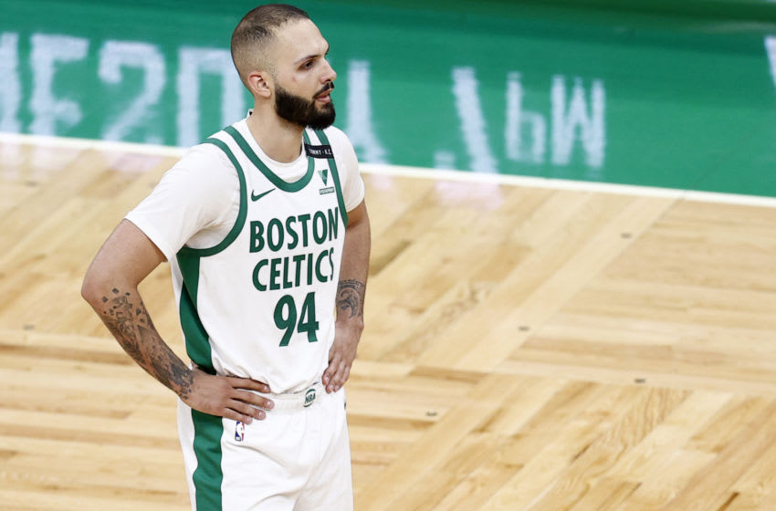 BOSTON, MASSACHUSETTS - MARCH 29: Evan Fournier #94 of the Boston Celtics looks on during the second half against the New Orleans Pelicans at TD Garden on March 29, 2021 in Boston, Massachusetts. (Photo by Maddie Meyer/Getty Images)