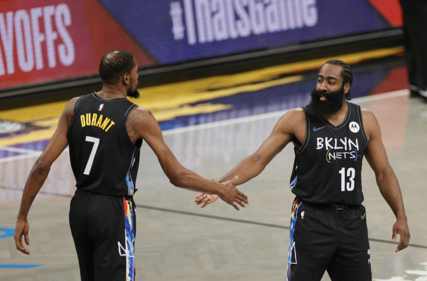 Kevin Durant and James Harden, Brooklyn Nets. Photo by Sarah Stier/Getty Images