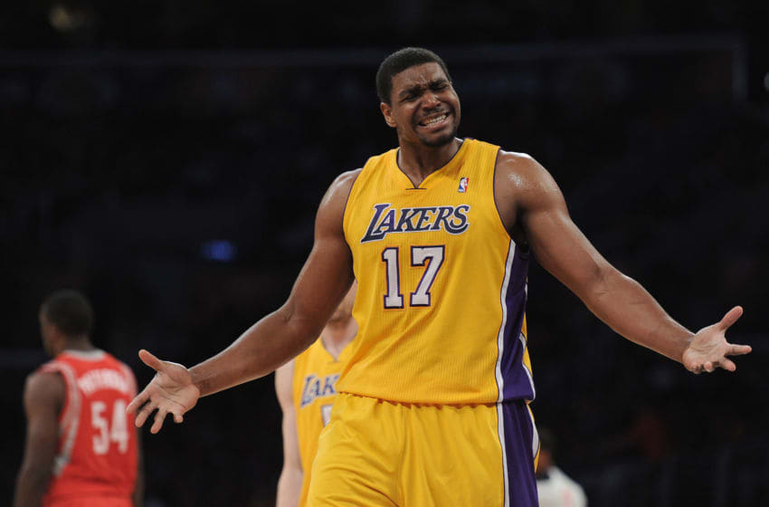 LOS ANGELES, CA - APRIL 06: Andrew Bynum #17 of the Los Angeles Lakers reacts for a foul call against the Houston Rockets at Staples Center on April 6, 2012 in Los Angeles, California. NOTE TO USER: User expressly acknowledges and agrees that, by downloading and or using this photograph, User is consenting to the terms and conditions of the Getty Images License Agreement. (Photo by Harry How/Getty Images)