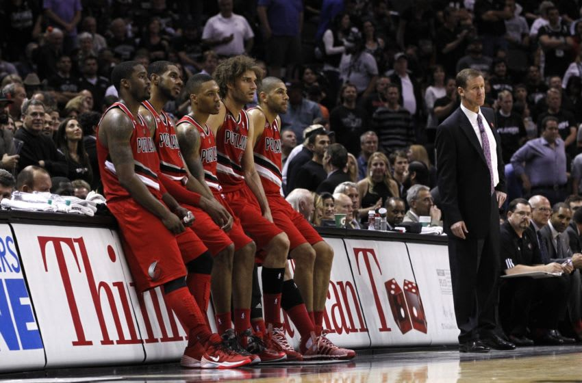 SAN ANTONIO, TX - MAY 14: The Portland Trail Blazers wait for play to resume in the Fourth Quarter as they lose to the San Antonio Spurs in Game Five of the Western Conference Semifinals during the 2014 NBA Playoffs at the AT&T Center on May 14, 2014 in San Antonio, Texas. NOTE TO USER: User expressly acknowledges and agrees that, by downloading and/or using this photograph, user is consenting to the terms and conditions of the Getty Images License Agreement. (Photo by Chris Covatta/Getty Images)