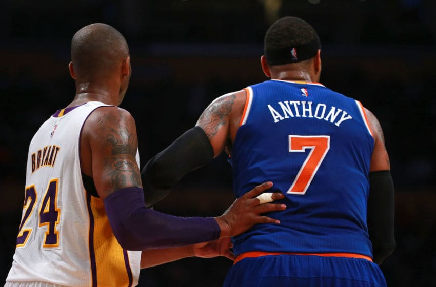 New York Knicks Kobe Bryant Carmelo Anthony (Photo by Victor Decolongon/Getty Images)