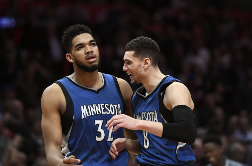 LOS ANGELES, CA - JANUARY 19: Karl-Anthony Towns #32 of the Minnesota Timberwolves celebrates with Zach LaVine #8 of the Minnesota Timberwolves after scoring the go ahead basket against Los Angeles Clippers during the second half of the basketball game at Staples Center January 19 2017, in Los Angeles, California. Timberwolves defeated the Clippers, 104-101. NOTE TO USER: User expressly acknowledges and agrees that, by downloading and or using this photograph, User is consenting to the terms and conditions of the Getty Images License Agreement. (Photo by Kevork Djansezian/Getty Images)
