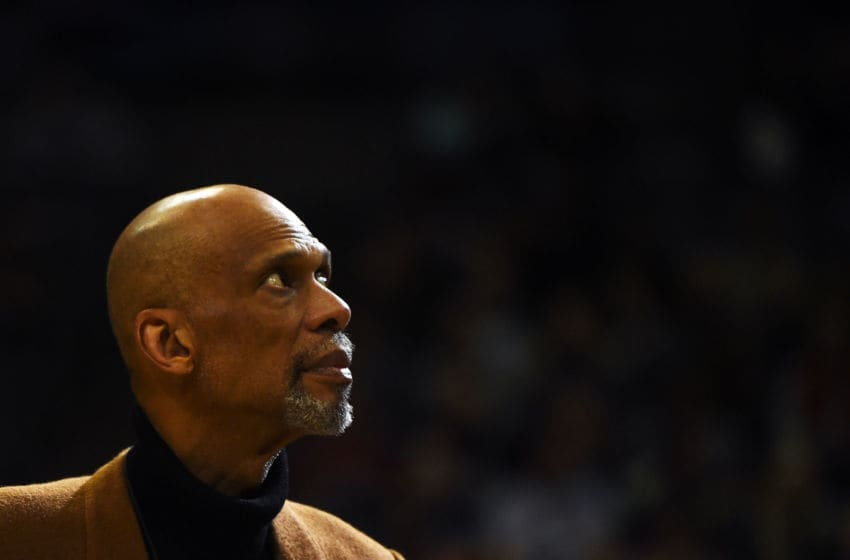 MILWAUKEE, WI - MARCH 01: Former Milwaukee Bucks player Kareem Abdul-Jabbar is honored at halftime during a game between the Milwaukee Bucks and the Denver Nuggets at the BMO Harris Bradley Center on March 1, 2017 in Milwaukee, Wisconsin. NOTE TO USER: User expressly acknowledges and agrees that, by downloading and or using this photograph, User is consenting to the terms and conditions of the Getty Images License Agreement. (Photo by Stacy Revere/Getty Images)