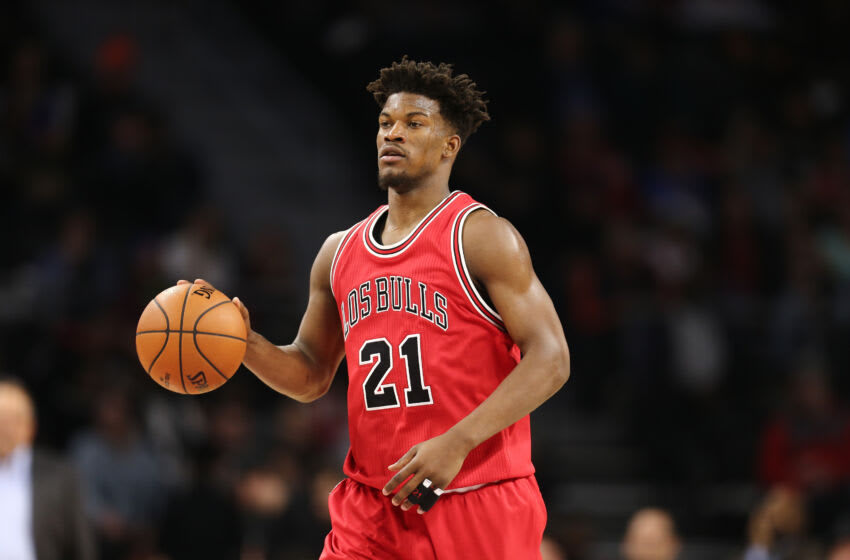 AUBURN HILLS, MI - MARCH 6: Jimmy Butler #21 of the Chicago Bulls brings the ball up court during the game against the Detroit Pistons at the Palace of Auburn Hills on March 6, 2017 in Auburn Hills, Michigan. NOTE TO USER: User expressly acknowledges and agrees that, by downloading and or using this photograph, User is consenting to the terms and conditions of the Getty Images License Agreement. (Photo by Rey Del Rio/Getty Images)