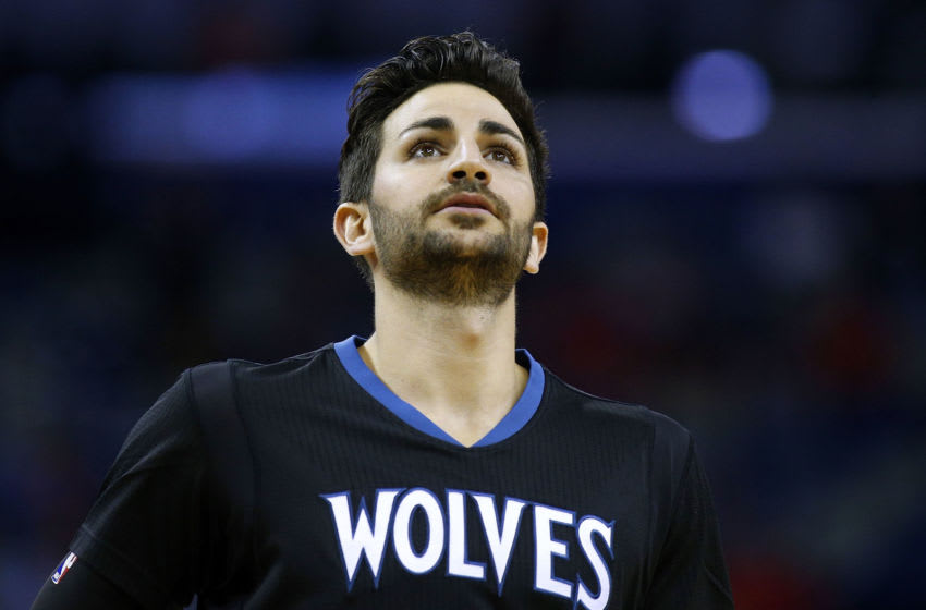 NEW ORLEANS, LA - MARCH 19: Ricky Rubio #9 of the Minnesota Timberwolves reacts during the first half of a game against the New Orleans Pelicans at the Smoothie King Center on March 19, 2017 in New Orleans, Louisiana. NOTE TO USER: User expressly acknowledges and agrees that, by downloading and or using this photograph, User is consenting to the terms and conditions of the Getty Images License Agreement. (Photo by Jonathan Bachman/Getty Images)