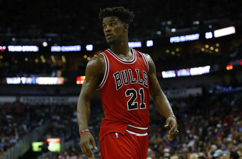 NEW ORLEANS, LA - APRIL 02: Jimmy Butler #21 of the Chicago Bulls reacts during a game against the New Orleans Pelicans at the Smoothie King Center on April 2, 2017 in New Orleans, Louisiana. NOTE TO USER: User expressly acknowledges and agrees that, by downloading and or using this photograph, User is consenting to the terms and conditions of the Getty Images License Agreement. (Photo by Jonathan Bachman/Getty Images)
