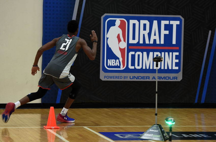 CHICAGO, IL - MAY 12: Terrance Ferguson #21 participates in drills during Day Two of the NBA Draft Combine at Quest MultiSport Complex on May 12, 2017 in Chicago, Illinois. NOTE TO USER: User expressly acknowledges and agrees that, by downloading and or using this photograph, User is consenting to the terms and conditions of the Getty Images License Agreement. (Photo by Stacy Revere/Getty Images)