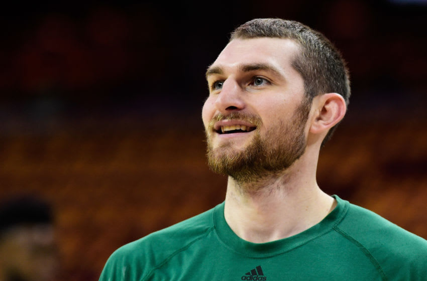 CLEVELAND, OH - MAY 21: Tyler Zeller #44 of the Boston Celtics warms up prior to Game Three of the 2017 NBA Eastern Conference Finals against the Cleveland Cavaliers at Quicken Loans Arena on May 21, 2017 in Cleveland, Ohio. NOTE TO USER: User expressly acknowledges and agrees that, by downloading and or using this photograph, User is consenting to the terms and conditions of the Getty Images License Agreement. (Photo by Jason Miller/Getty Images)