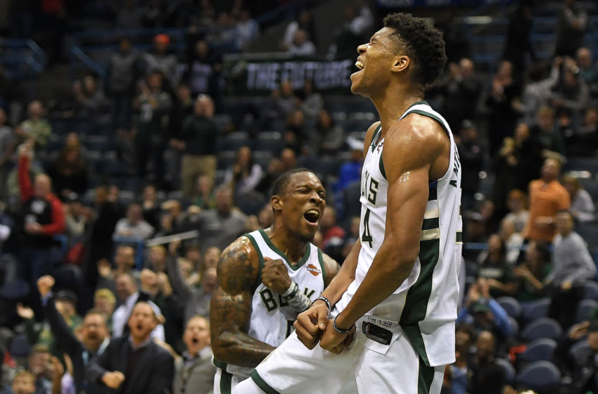 MILWAUKEE, WI - DECEMBER 09: Giannis Antetokounmpo #34 of the Milwaukee Bucks celebrates a dunk with Eric Bledsoe #6 during the second half of a game against the Utah Jazz at the Bradley Center on December 9, 2017 in Milwaukee, Wisconsin. NOTE TO USER: User expressly acknowledges and agrees that, by downloading and or using this photograph, User is consenting to the terms and conditions of the Getty Images License Agreement. (Photo by Stacy Revere/Getty Images)