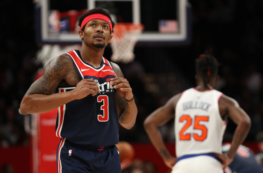 WASHINGTON, DC - MARCH 10: Bradley Beal #3 of the Washington Wizards looks on against the New York Knicks during the first half at Capital One Arena on March 10, 2020 in Washington, DC. NOTE TO USER: User expressly acknowledges and agrees that, by downloading and or using this photograph, User is consenting to the terms and conditions of the Getty Images License Agreement. (Photo by Patrick Smith/Getty Images)