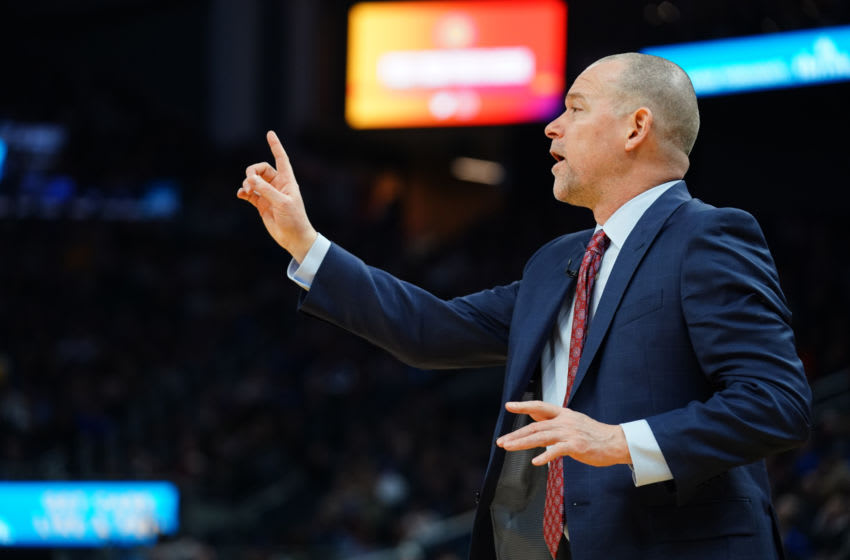 SAN FRANCISCO, CALIFORNIA - JANUARY 16: Head Coach Michael Malone of the Denver Nuggets looks on during the first half against the Golden State Warriors at the Chase Center on January 16, 2020 in San Francisco, California. NOTE TO USER: User expressly acknowledges and agrees that, by downloading and/or using this photograph, user is consenting to the terms and conditions of the Getty Images License Agreement. (Photo by Daniel Shirey/Getty Images)