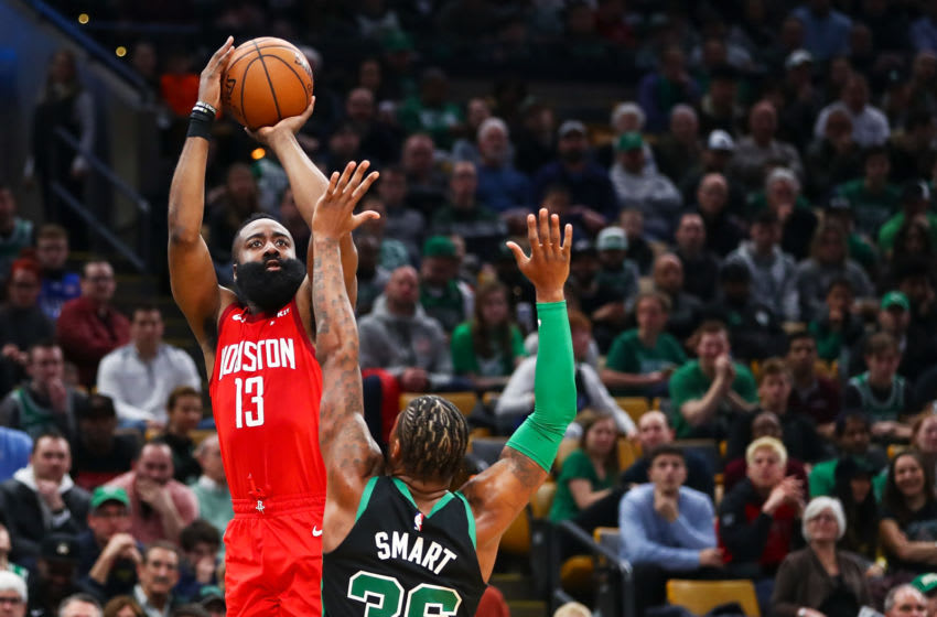 BOSTON, MA - MARCH 03: James Harden #13 of the Houston Rockets shoots the ball over Marcus Smart #36 of the Boston Celtics during a game at TD Garden on March 3, 2019 in Boston, Massachusetts. NOTE TO USER: User expressly acknowledges and agrees that, by downloading and or using this photograph, User is consenting to the terms and conditions of the Getty Images License Agreement. (Photo by Adam Glanzman/Getty Images)