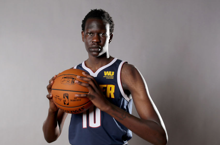 MADISON, NEW JERSEY - AUGUST 11: Bol Bol of the Denver Nuggets poses for a portrait during the 2019 NBA Rookie Photo Shoot on August 11, 2019 at the Ferguson Recreation Center in Madison, New Jersey. (Photo by Elsa/Getty Images)
