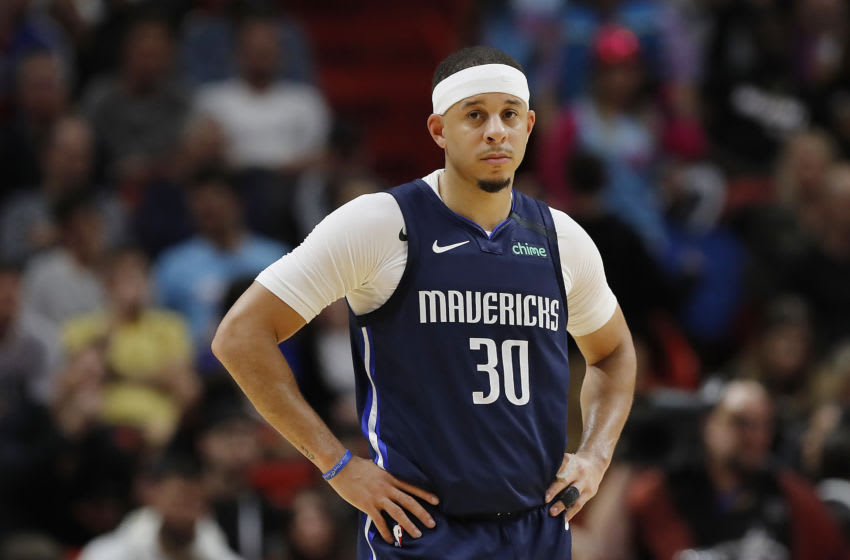 MIAMI, FLORIDA - FEBRUARY 28: Seth Curry #30 of the Dallas Mavericks looks on against the Miami Heat during the second half at American Airlines Arena on February 28, 2020 in Miami, Florida. NOTE TO USER: User expressly acknowledges and agrees that, by downloading and/or using this photograph, user is consenting to the terms and conditions of the Getty Images License Agreement. (Photo by Michael Reaves/Getty Images)