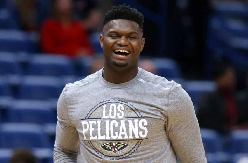 NEW ORLEANS, LOUISIANA - MARCH 06: Zion Williamson #1 of the New Orleans Pelicans warms up before a game against the Miami Heat at the Smoothie King Center on March 06, 2020 in New Orleans, Louisiana. NOTE TO USER: User expressly acknowledges and agrees that, by downloading and or using this Photograph, user is consenting to the terms and conditions of the Getty Images License Agreement. (Photo by Jonathan Bachman/Getty Images)