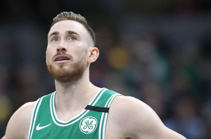INDIANAPOLIS, INDIANA - MARCH 10: Gordon Hayward #20 of the Boston Celtics watches the action against the Indiana Pacers at Bankers Life Fieldhouse on March 10, 2020 in Indianapolis, Indiana. NOTE TO USER: User expressly acknowledges and agrees that, by downloading and or using this photograph, User is consenting to the terms and conditions of the Getty Images License Agreement. (Photo by Andy Lyons/Getty Images)