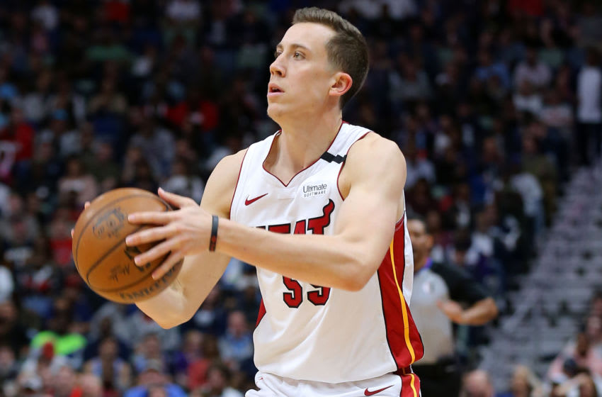 NEW ORLEANS, LOUISIANA - MARCH 06: Duncan Robinson #55 of the Miami Heat shoots against the New Orleans Pelicans during a game at the Smoothie King Center on March 06, 2020 in New Orleans, Louisiana. NOTE TO USER: User expressly acknowledges and agrees that, by downloading and or using this Photograph, user is consenting to the terms and conditions of the Getty Images License Agreement. (Photo by Jonathan Bachman/Getty Images)